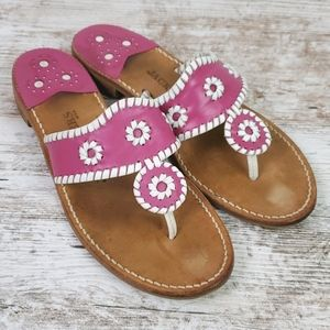 Jack Rogers USA Majenta/White Sandals 9